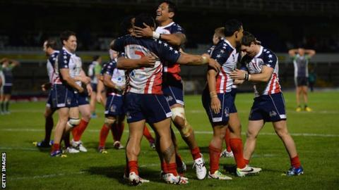 USA team celebrate victory
