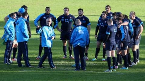 England coach Stuart Lancaster leads training