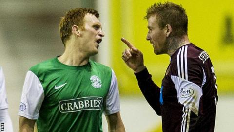 Liam Craig (left) exchanges words with Ryan Stevenson during Hearts' 1-0 win at Easter Road
