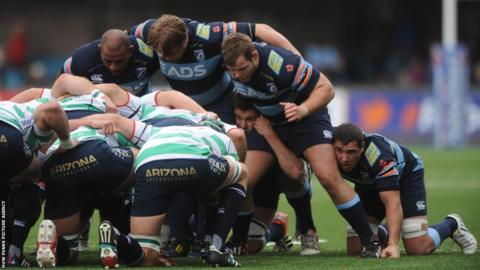 Prop Sam Hobbs (second from right) packs down and later scores a crucial second-half try for Cardiff Blues that sees them beat Treviso 17-13