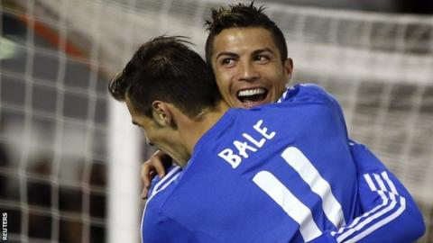 Real Madrid's Cristiano Ronaldo and Gareth Bale celebrate
