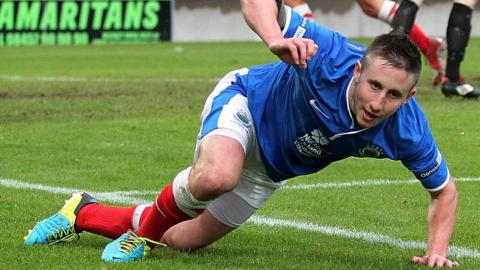 Michael Carvill scored in Linfield's 5-2 win over Ards at Windsor Park