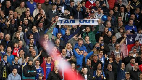Some Cardiff City fans use the derby with Swansea City to show their opposition against owner Vincent Tan