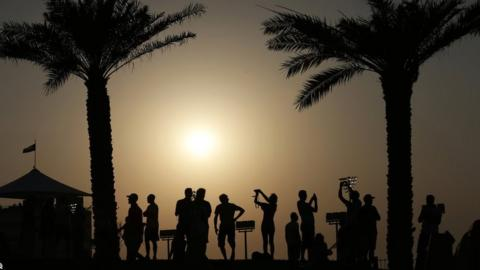 Spectators watch the second free practice at the Yas Marina racetrack in Abu Dhabi