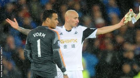 Swansea City Michel Vorm and midfielder Jonjo Shelvey
