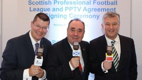 From left: SPFL chief executive Neil Doncaster, First Minister Alex Salmond and Celtic chief executive Peter Lawwell