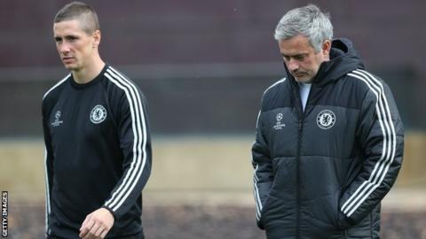 Chelsea striker Fernando Torres (left) and Blues manager Jose Mourinho