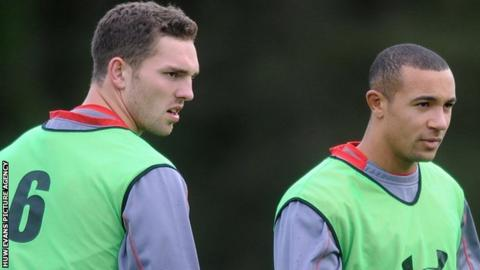 George North and Eli Walker in Wales training ahead of the November, 2013 clash against South Africa
