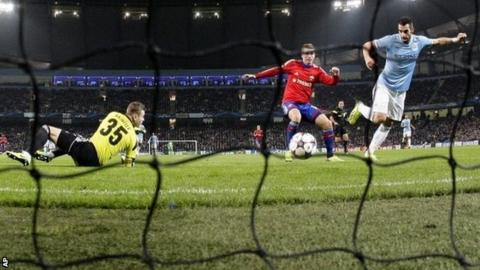 Alvaro Negredo taps home Manchester City's third goal against CSKA Moscow