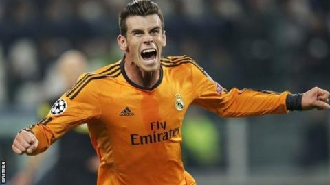 Real Madrid's Gareth Bale celebrates scoring against Juventus