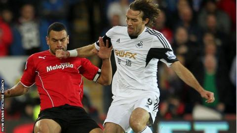 Swansea City striker Michu in action against Cardiff City