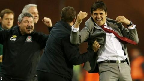 Wales manager Chris Coleman (right)