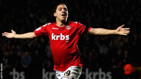 Hogan Ephraim celebrates scoring for Charlton
