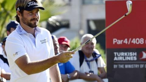 Victor Dubuisson in third-round action at the Turkish Airways Open