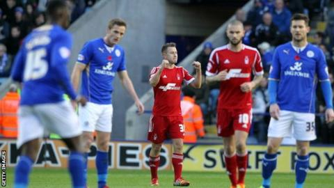 Nottingham Forest's Simon Cox celebrates scoring against Leicester City