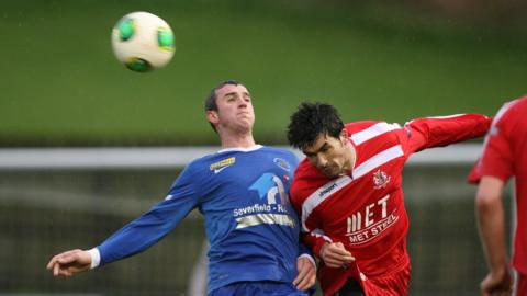 Ryan Campbell and Emmett Friars in aerial action as Ballinamallard United beat Portadown