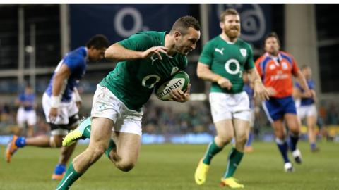 Dave Kearney crosses the line for Ireland's fifth try in their 40-9 victory over Samoa