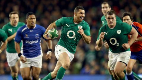 Ireland full-back Rob Kearney makes ground for his side during the autumn international