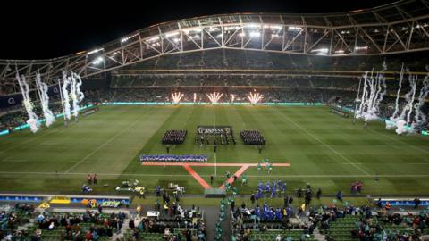 The scene at the Aviva Stadium as the Ireland and Samoan teams prepare to take to the pitch