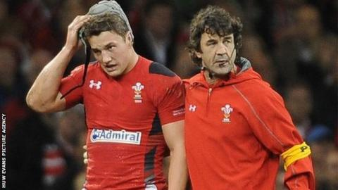 Jonathan Davies is helped off the pitch by Wales physio Mark Davies