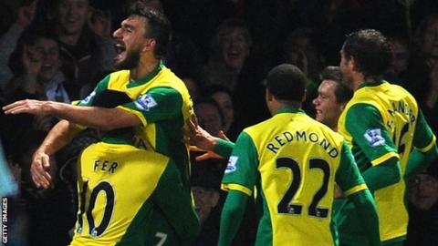 Norwich City's Robert Snodgrass celebrates scoring against West Ham