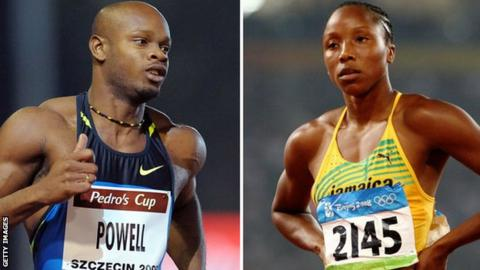 Asafa Powell (left) and Sherone Simpson