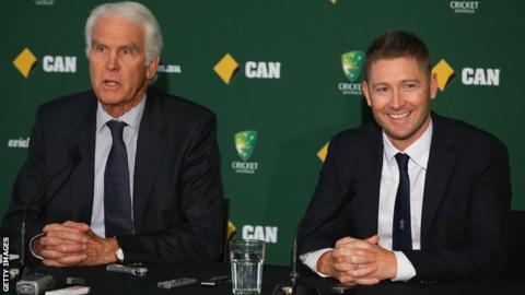 Chairman of selectors John Inverarity and Captain Michael Clarke