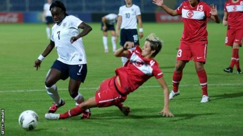 England's Eniola Aluko is challenged against Turkey