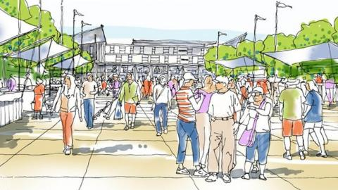 Artist's impression redeveloped Abbey Stadium