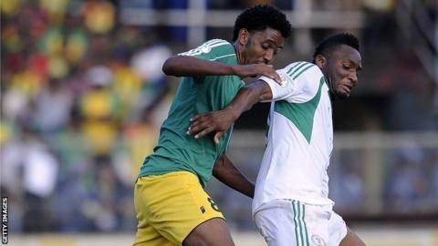 Nigeria's John Mikel Obi (right) battles with Ethiopia's Asrat Megersa