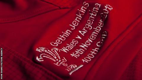Gethin Jenkins' 100-caps Wales shirt