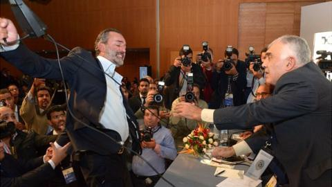 Marwan Benani, president of Moroccan football club MAS, tries to hit Omar Ghaylan, president of the general assembly of the Moroccan Football Royal Federation at elections on 10 November.