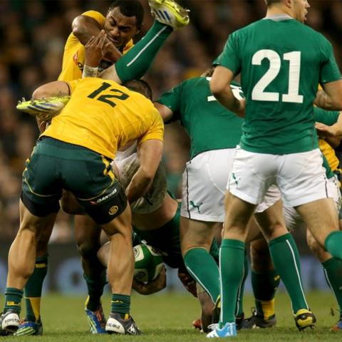Australia's Tevita Kuridrani was shown a red card after a dangerous tackle on Ireland's Peter O'Mahony
