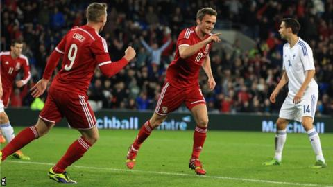 Andy King celebrates giving Wales the lead against Finland