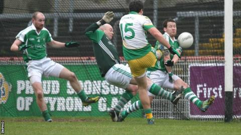 Michael Murphy scores a goal for Glenswilly against Roslea