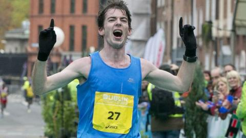 Paul Pollock finishing the Dublin Marathon in 2012