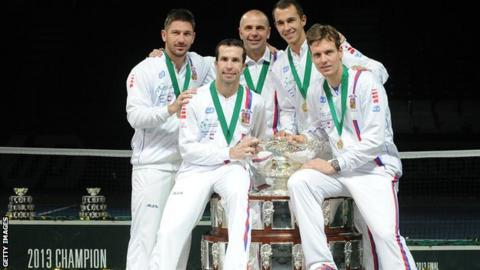 The winning Davis Cup team, Czech Republic, with their trophy