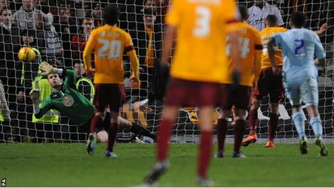 Nakhi Wells scores Bradford's third goal against Coventry City