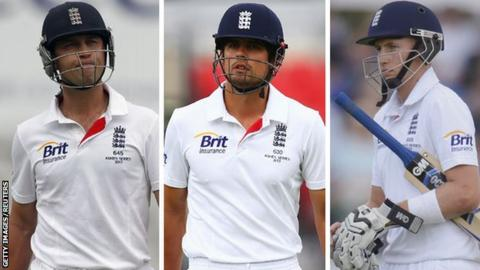 (left to right) Jonathan Trott , Alastair Cook and Joe Root