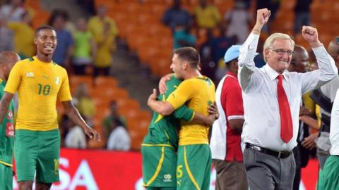 South Africa celebrate after beating Spain