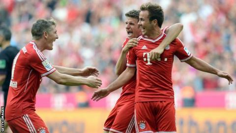 Bastian Schweinsteiger, Thomas Muller and Mario Gotze celebrating for Bayern Munich