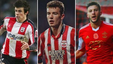 Gareth Bale, Alan Shearer and Adam Lallana playing for Southampton
