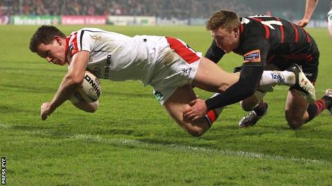 Craig Gilroy goes over for Ulster's first try