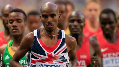Mo Farah in the 5,000m final at August's World Championships