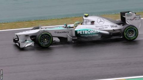 Lewis Hamilton driving in the wet during practice at the Brazilian Grand Prix