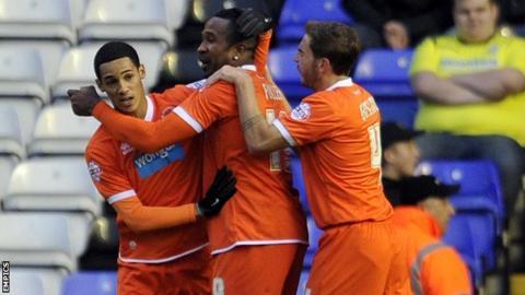 Blackpool celebrate Ricardo Fuller's goal