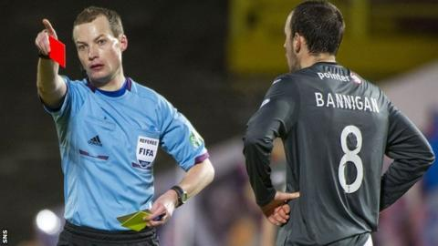 Referee Willie Collum shows a red card to Partick Thistle's Stuart Bannigan