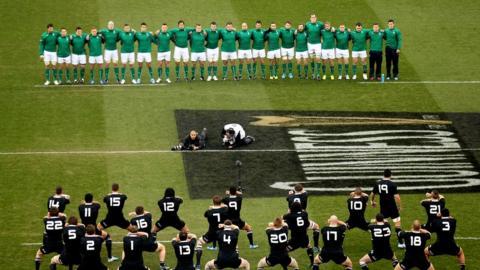 Ireland face the All Blacks haka before the start of the autumn international in Dublin