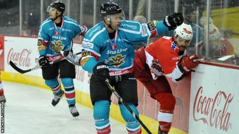Evan Cheverie (centre) put the Giants ahead against Coventry on Sunday night