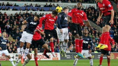Kim Bo-Kyung heads a late equaliser to earn Cardiff a 2-2 draw against Manchester United in the Premier League in November 2013